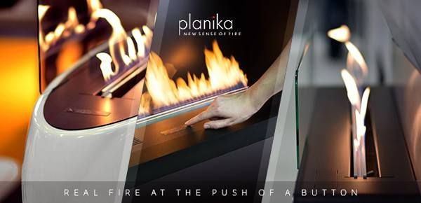 Real fire at the push of a button. Now you can enjoy that comforting, cozy feeling of relaxing in front of a fire in any room of your home. Just push a button and you have instant warmth.  www.store.planikafires.com www.facebook.com/planikafire