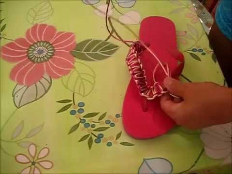 chanclas decoradas (DIY) /macramé/fácil