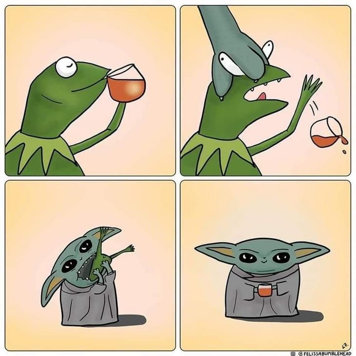 Baby Yoda Snack Attack Funny Star Wars Memes Yoda Meme Star Wars Humor