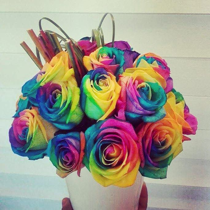 """""""She comes in colors everywhere;  She combs her hair  She's like a rainbow"""" lyrics from Rolling Stones song """"She's a rainbow"""" released in 1967 https://youtu.be/Ya4R7ZswMwA Inspired by this song and a local event here in Mykonos we created this unique composition. #partyflowers #mykonosflowers #studio7_mykonos #flowershop #mykonos #rainbow"""