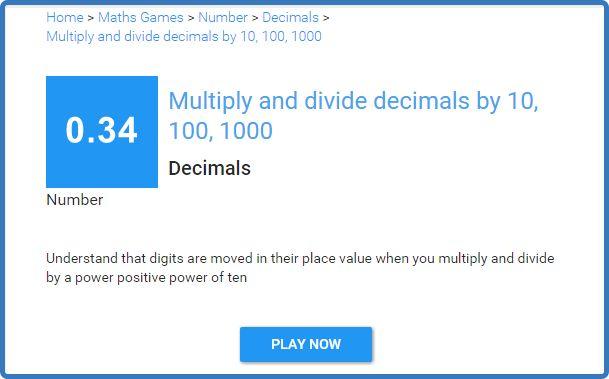 Умножение и деление десятичной дроби на 10, 100, 1000. Тест