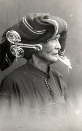 Sumatra, Indonesia | Portrait of an old Batak woman | Postcard image from the 1920s | Probably published by Japanese photographer Y. Asada