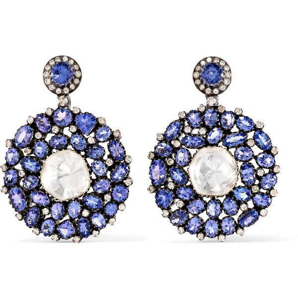 Amrapali 18-karat gold, tanzanite and diamond earrings (293 285 UAH) ❤ liked on Polyvore featuring jewelry, earrings, amrapali earrings, diamond jewellery, hand crafted jewelry, indian jewellery and indian diamond jewellery