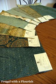 Frugal with a Flourish: Making No Sew Pillows Out of Fabric Samples