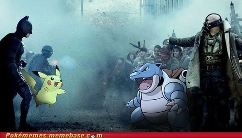 The Dark Knight Rises, the real version! :p Shoot, no wonder Batman won - water types are super weak to electric types! :O