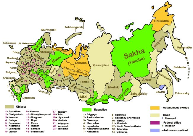 map of Russia with oblasts, republics, etc labeled