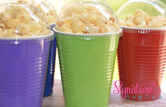 TMNT Party-Popcorn Party Boxes-16oz Party Cups and Lids-Set of 10 on Etsy, $11.40