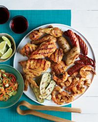 Mixed Grill with Roasted-Garlic-and-Pepper Salsa Recipe on Food & Wine This chunky, grilled garlic salsa, made with baby peppers, cilantro and lime juice, is an ideal flavor match with simply grilled meats and poultry.