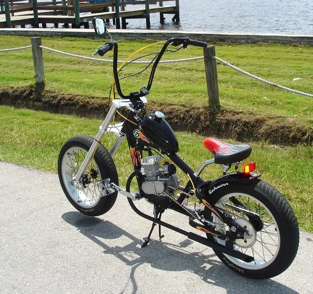 I just made a trade for an OCC Schwinn chopper bike.  I am going to motorized it very similar to this setup.