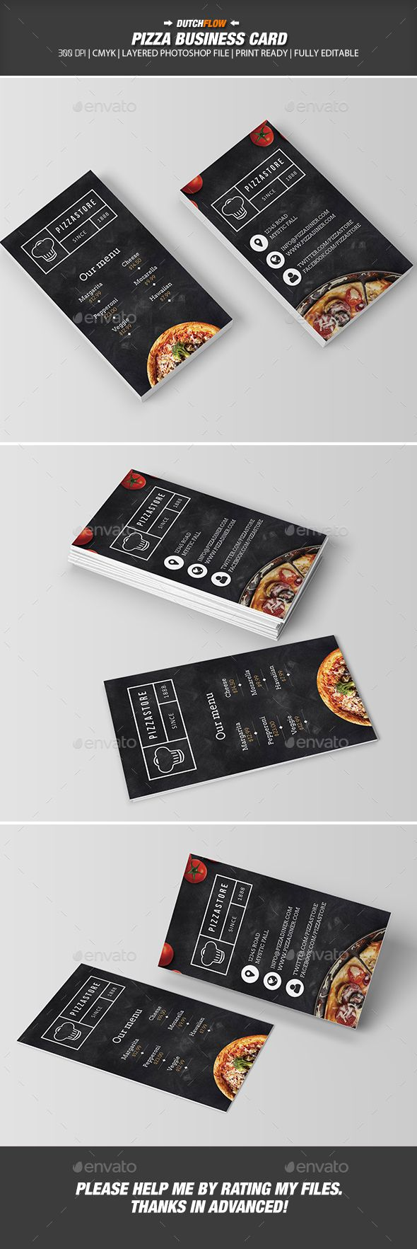 Pizza Business Card — Photoshop PSD #food #luxury • Available here → https://graphicriver.net/item/pizza-business-card/19276018?ref=pxcr