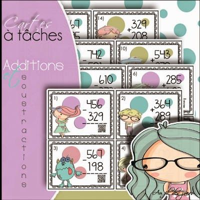 FREE - Cartes à tâches : Additions et soustractions - 3-digit numbers with QR…