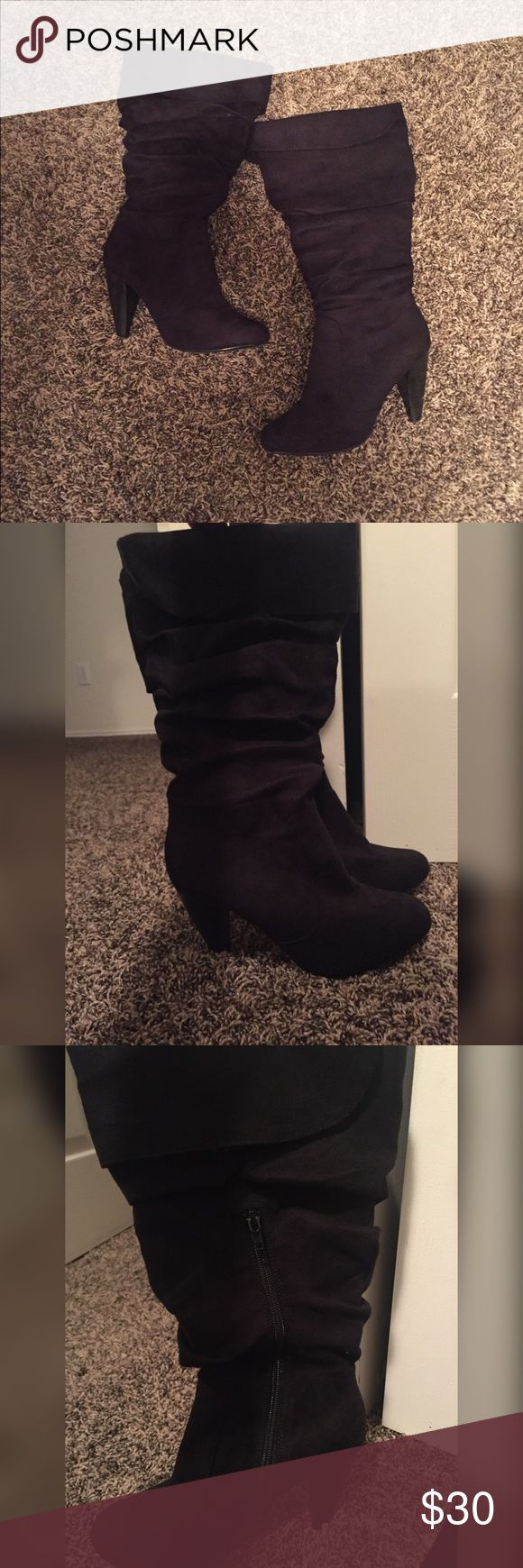 Black Soft Suede Heel Boots These are black soft suede heeled boots. The heel is about 3.5 inches tall. The boots are very comfortable to wear. They have a zipper on the inner side of the boot for easy application. These boots are from Charlotte Russe. Please let me know if you want to bundle items so we can save you some money on shipping! Charlotte Russe Shoes Heeled Boots