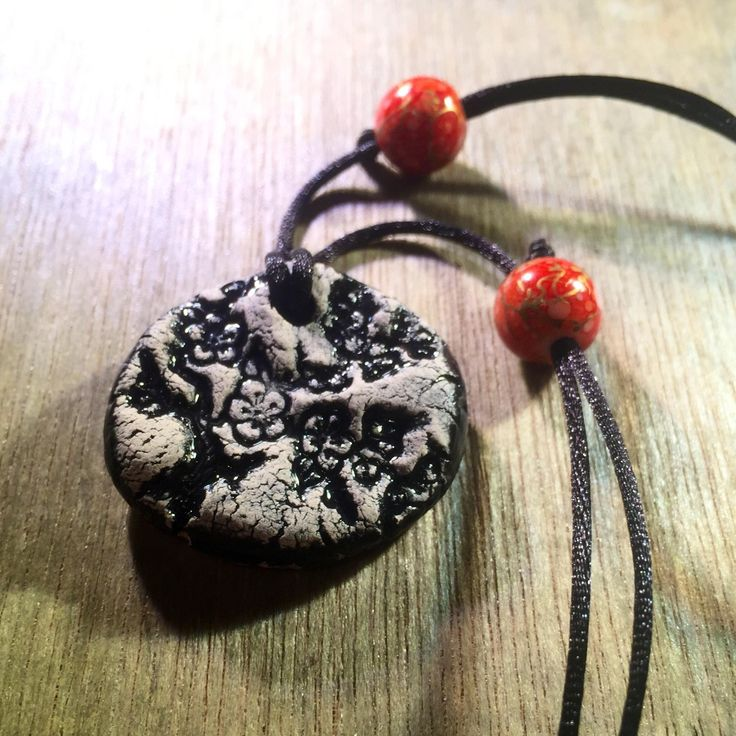 Black Cherry Blossom Essential Oil Diffuser Necklace - Handmade Ceramic Pendant - adjustable necklace - 62917 by TheMuddyPotter on Etsy