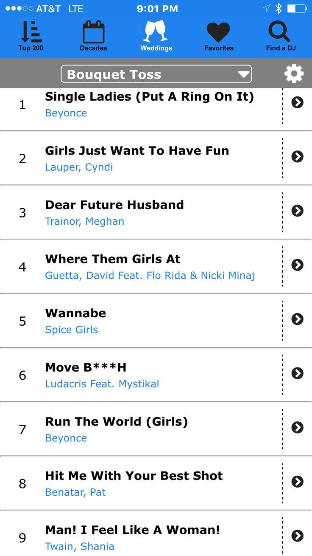 Top 9 bouquet toss songs