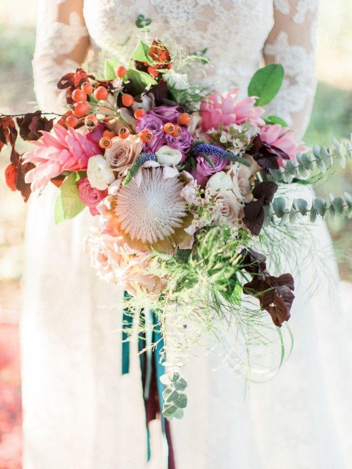 colourful protea bouquet