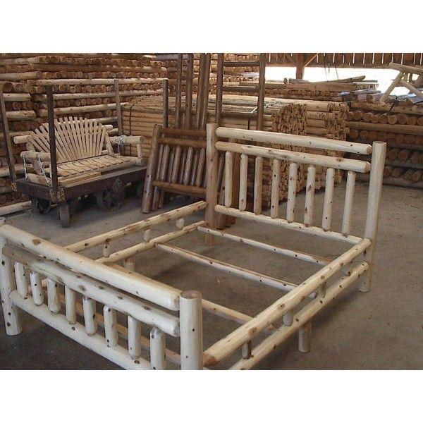 Custom Amish Made Cedar Log King Size Bed Frame Tree Stump Posts For Log Bed Frame Log Bed Rustic Bedding