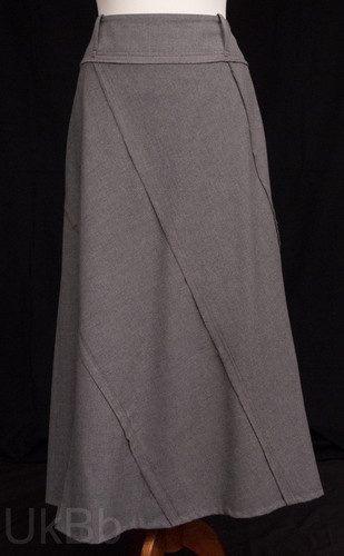 Per-Una-Long-Grey-Felt-Panel-Cut-A-Line-Maxi-Skirt-Size-14  £7.60 PAID