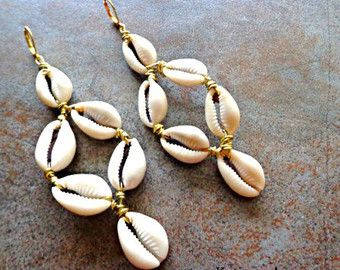 Triple Cowrie Shell Earrings Ethnic Dangle by KheperaAdornments
