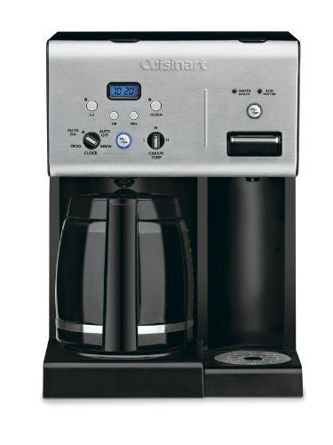 Cuisinart CHW-12 Coffee Plus 12-Cup Programmable Coffeemaker with Hot Water System  Black/Stainless