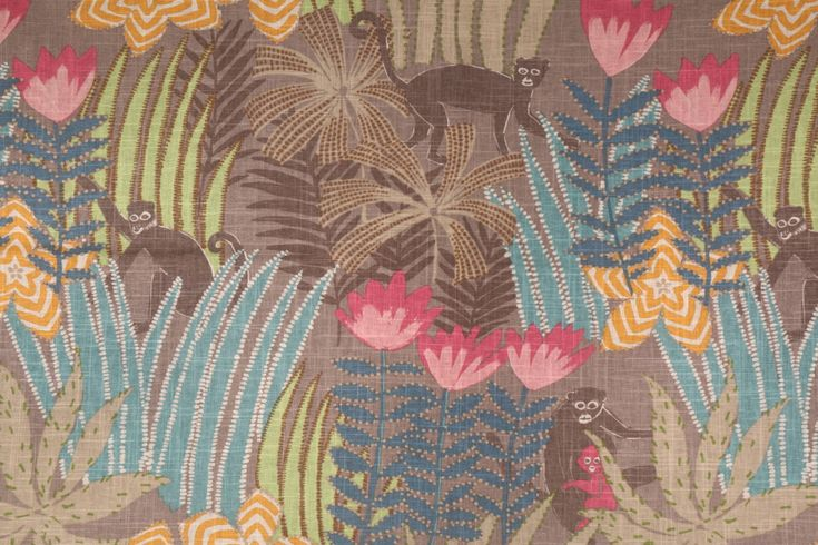 Hamilton Jungle Printed Linen Blend Drapery Fabric in Pebble. This fabric will ship directly from the factory. In most cases the fabric will ship in 1-2 business days. On rare occasions the fabric wil...