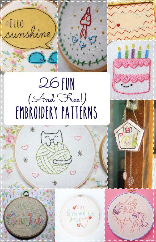 26 patrones de bordado,  divertidos y gratis!                                                                                                                                                      Más