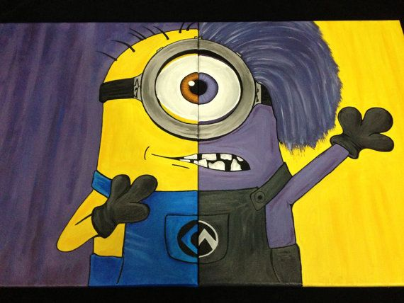 Despicable Me Minion & Purple Minion Painting on Etsy, $250.00