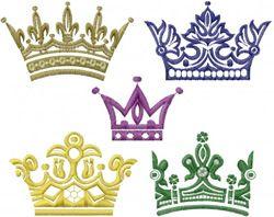 "Royal Crowns Embroidery Design    H/W:145.20 mm x 183.90 mm  5.72"" x 7.24""  Stitches:18193  Formats:ART, DST, EXP, HUS, JEF, PEC, PES, SEW, STX, VIP, XXX  Vendor:Machine Embroidery Designs  SKU:MED01-12822"