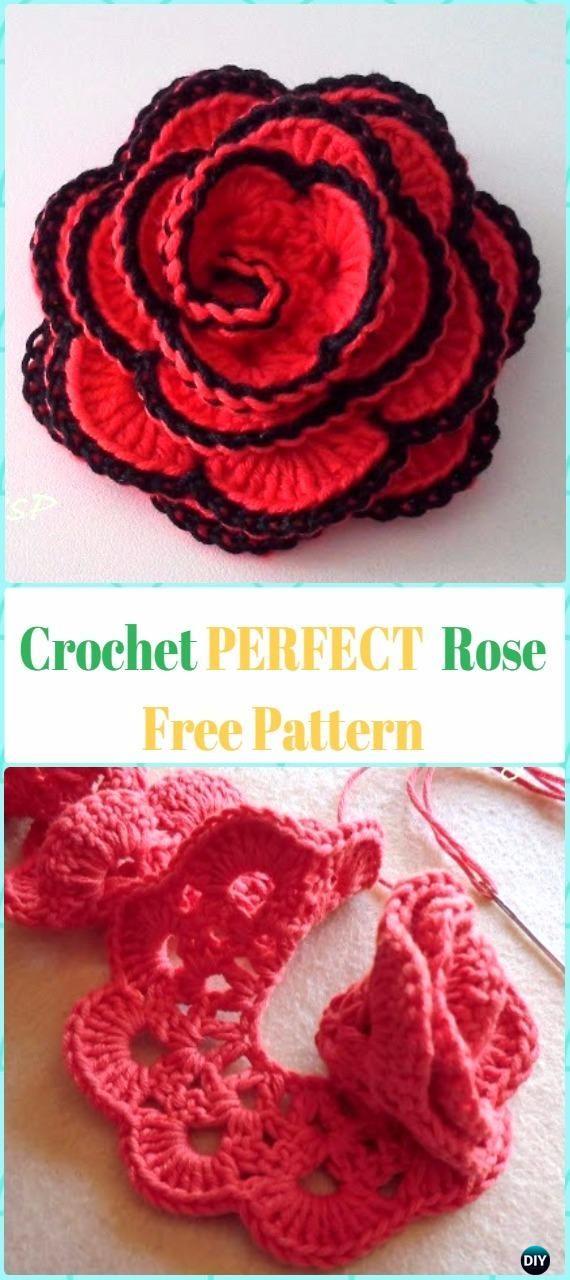 Perfect Crochet 3D Rose Flower Free Pattern [Spanish] #Crochet;