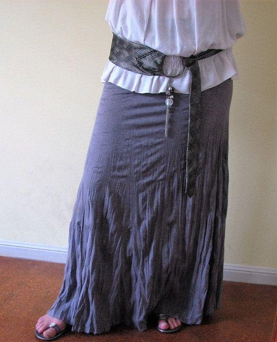 Grey metallic look tie belt with pewter buckle. by Nu4UDesigns
