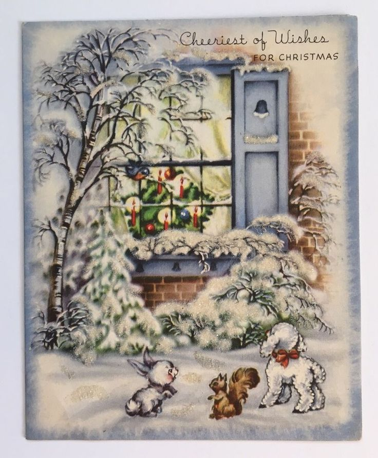 Vintage Christmas Card House Window Tree Lamb Squirrel Bunny Bluebird Glitter