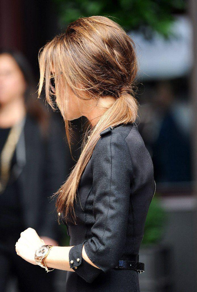messy low ponytail//