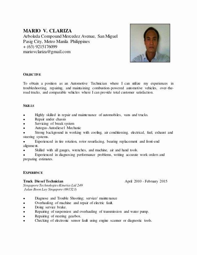 Beautiful Mario V Clariza Resume Automotive Technician In 2020 Automotive Technician Sample Resume Resume