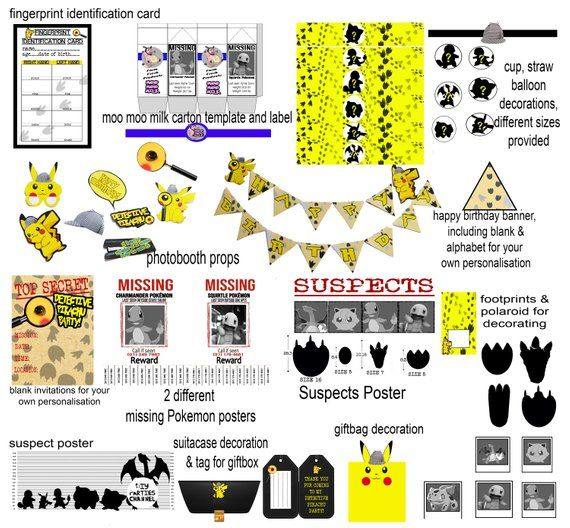 graphic regarding Pokemon Posters Printable identified as Detective Pokémon Printable Birthday Decoration Social gathering Pack