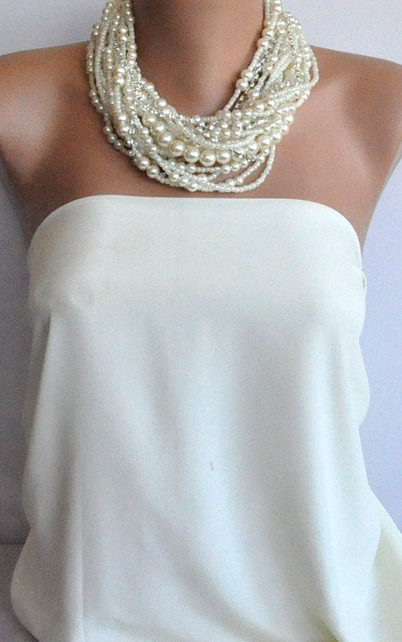 Bridal Jewelry,  Multistrand Pearl brides necklaces  ivory pearl choker Bold ,Chunky, Layered , Necklace with Rhinestone brides  bridesmaids