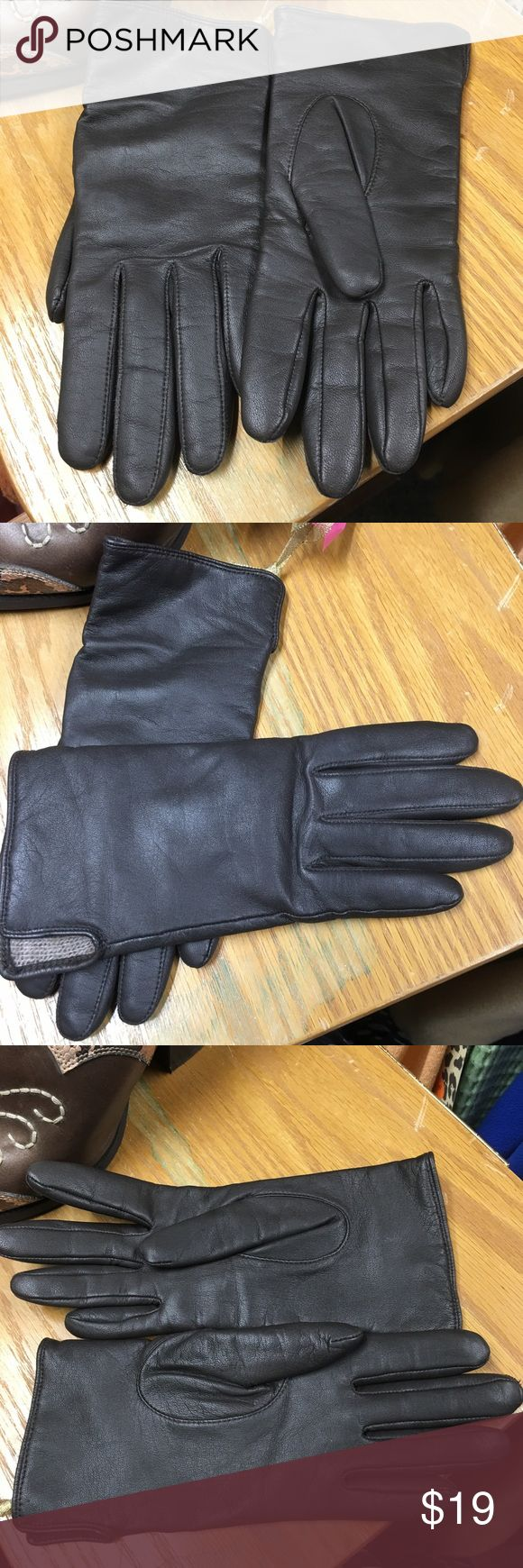 Ladies leather gloves yellow - Xs Ladies Brown Leather Gloves