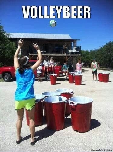 Volleybeer --- Genius! @Melanie Bauer Minaudier ... thankfully we have my huge back yard to do this in! OR Childs Lake game?! Ooooooh man!