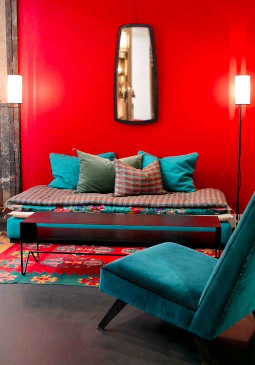 8 best Salon rouge turquoise images on Pinterest Color palettes - deco salon rouge blanc noir