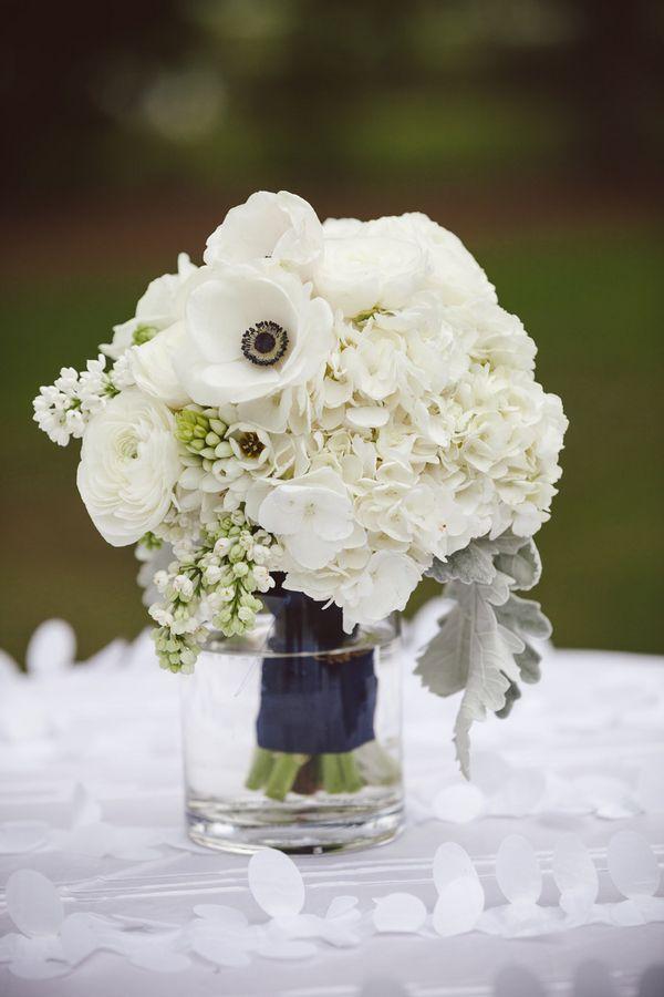 bouquet inspo - White Rose Anemone and Hydrangea Arrangement | photography by http://www.ameliaanddan.com/