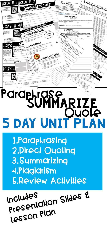 Paraphrasing Summarizing Quoting Plagiarism Unit Writing Lesson Academic Essay Teaching And Summary Exercises Exercise Pdf