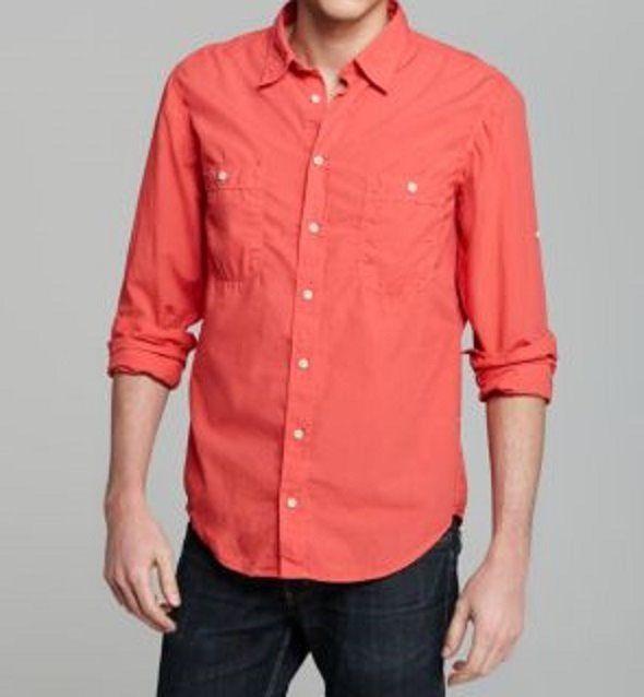 Hugo Boss Men's Casual Shirt Sz XL Coral Orange Cotton Long Sleeve ...