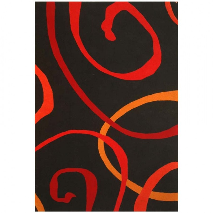Acura Rugs Contempo Black Red Contemporary Rug Ct 104