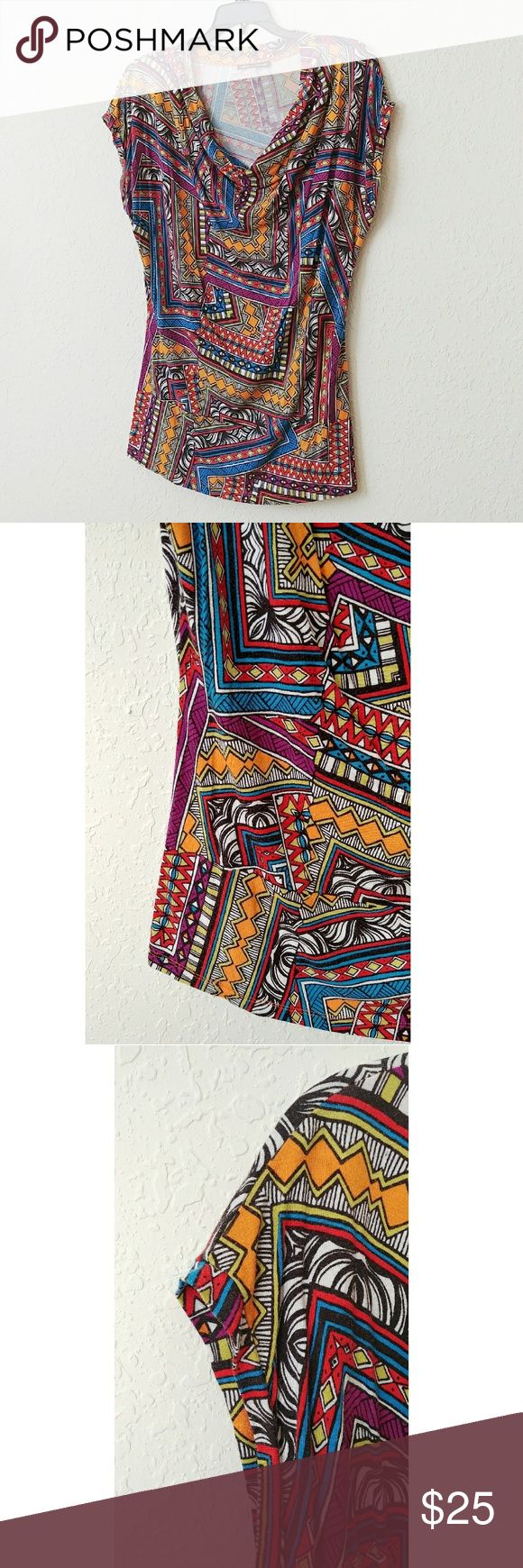 [Nordstrom Rack] Cable & Guage Aztec Top I love this print and color scheme ~ Very fun top ~ Has a Ruched Cowl Neck ~ Like a tank but has a slight sleeve, barely over the tops of shoulders ~ Stretchy material ~ Fits more like a Medium ~ 97% Viscose 3% Spandex Cable & Gauge Tops Blouses