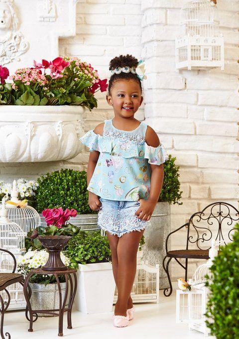 Anjo D'Agua  Shorts- SAIA e Blusa Anjo D'agua Moda Infantil 6266