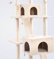 The Frisco 72-inch Large Base Cream Cat Tree is the ultimate all-in one spot for your kitty to do all the things she loves, from lounging to leaping to honing her expert hunting skills. Frisky cats can jump from perch to perch as they climb to the top of their lookout tower. Carefully placed dangling toys give Kitty the thrill of the hunt as she bats them around till her heart's content. With ten enticing scratching posts, several cats can claw at once, so it's great for multi-cat…