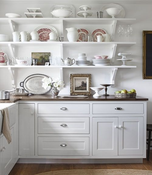 10 Country Decorating Ideas From my favorite magazine, Country Living Magazine countryliving.com: Kitchens Shelves, Kitchens Design, Open Shelves, Farmhouse Kitchens, Country Farmhouse, Open Kitchens, White Shelves, White Cabinets, White Kitchens