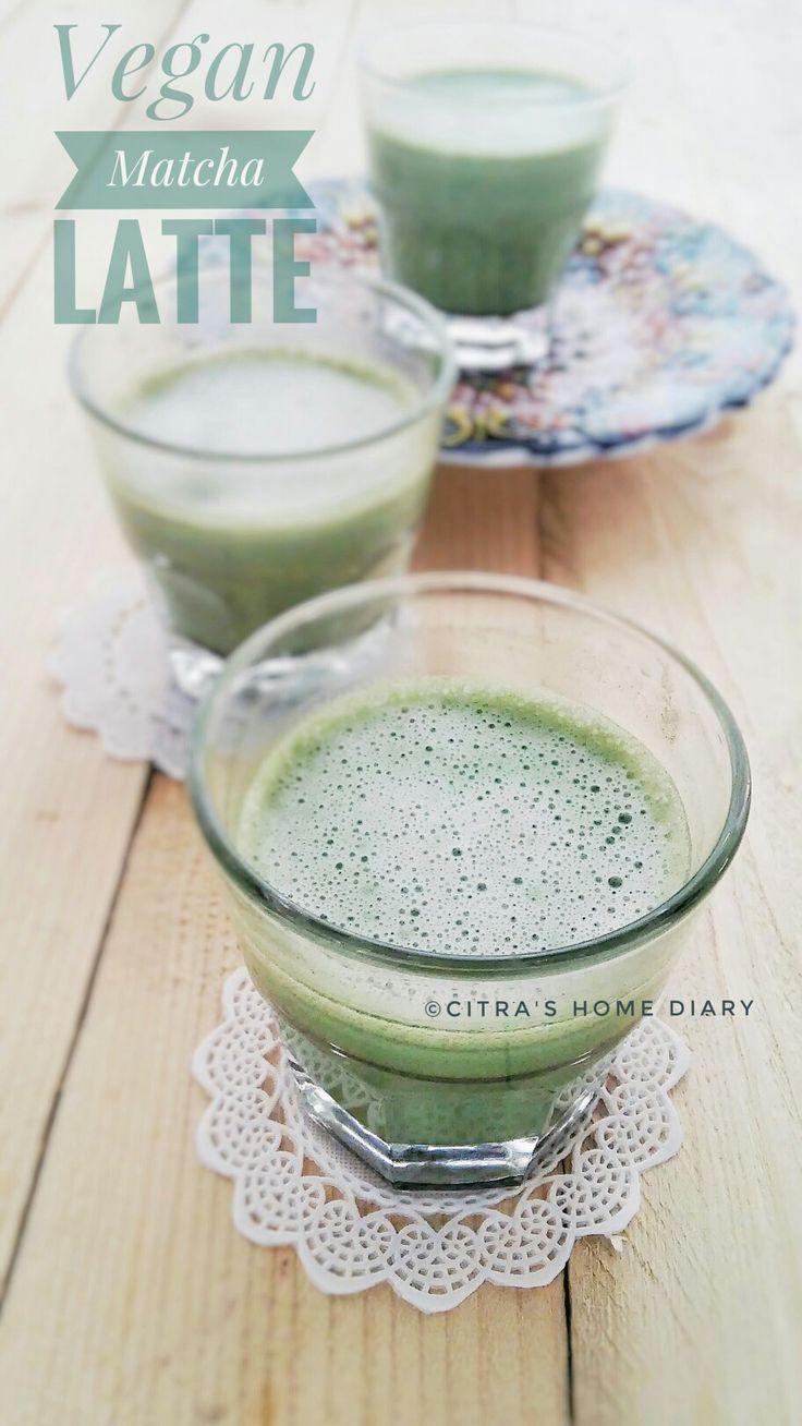 Matcha / green tea lattr. Vegan. http://myhomediaryinturkey.blogspot.com
