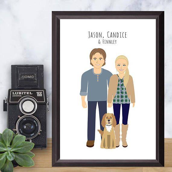 Couple Portrait drawing Custom Illustration Personalized