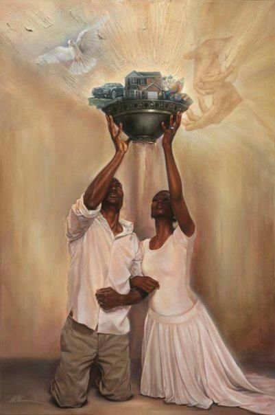 """""""Give it all to GOD"""" by WAK  This painting is a reflection of today's times, economic pressures, foreclosures, gas prices, insurances, credit card debt ,high interest rates, child care, etc."""