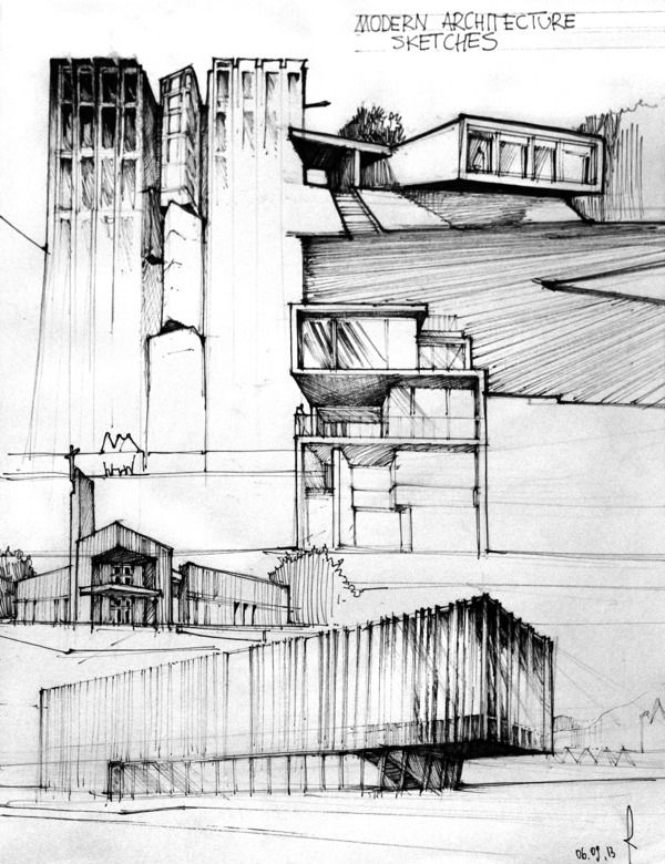 architecture drawings, good use of tone and texture, pen on paper, black and white
