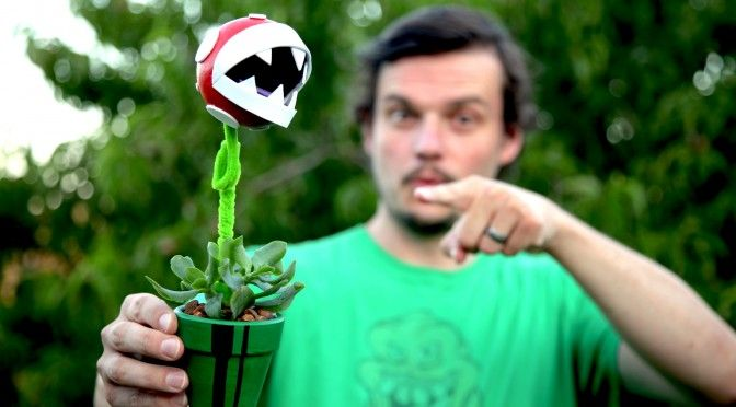 Super Marios Bros. themed pot plant gift - Piranha Plant! Easy to make craft that gives a real-life succulent an 8-bit makeover.